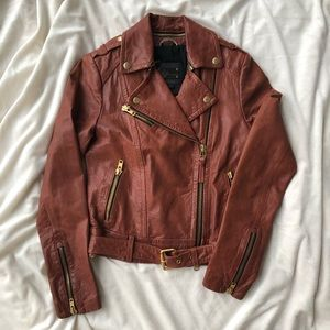 Brown Leather Jacket with Gold Hardware